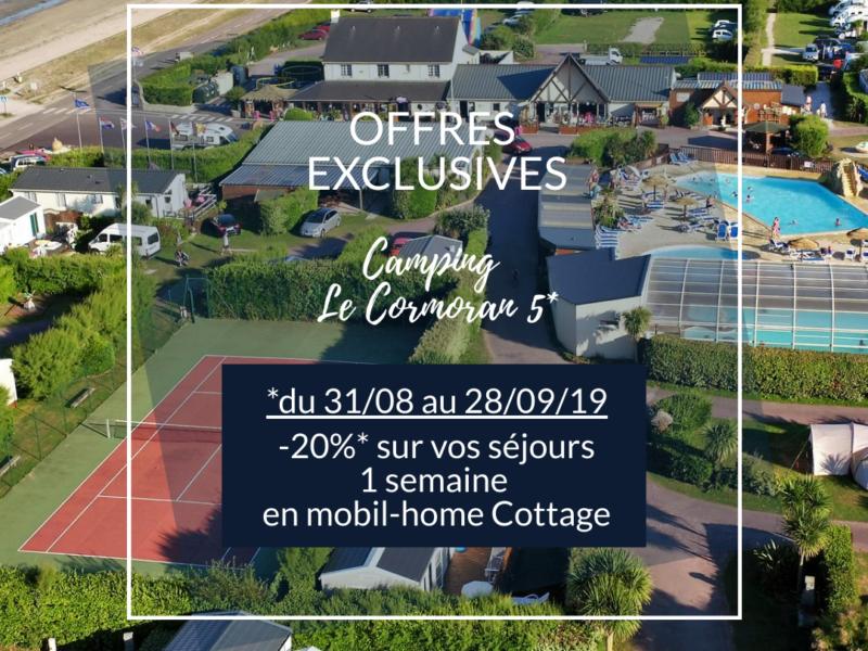 OFFRE EXCLUSIVE de -20%* sur vos locations pour un mobil-home cottage auCamping Le Cormoran 5*