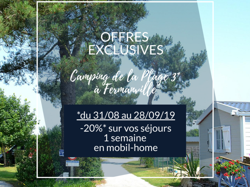 EXCLUSIVE OFFER: -20% * on your stay in rental mobile home – Camping de la Plage Fermanville 3 *