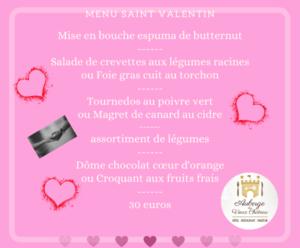 Menu Saint Valentin à emporter @auberge du vieux chateau cotentin