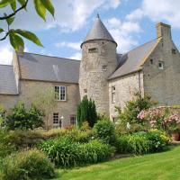 manoir de juganville - chambre d'hote normandie cotentin - facade avec jardin fleuri basse def