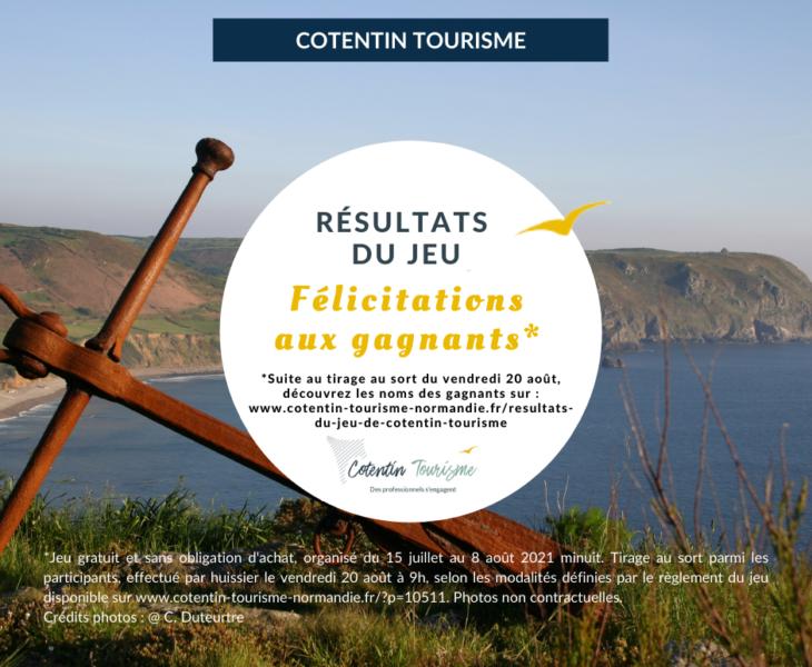 Résultats du Jeu Cotentin Tourisme 2021 – Liste des gagnants
